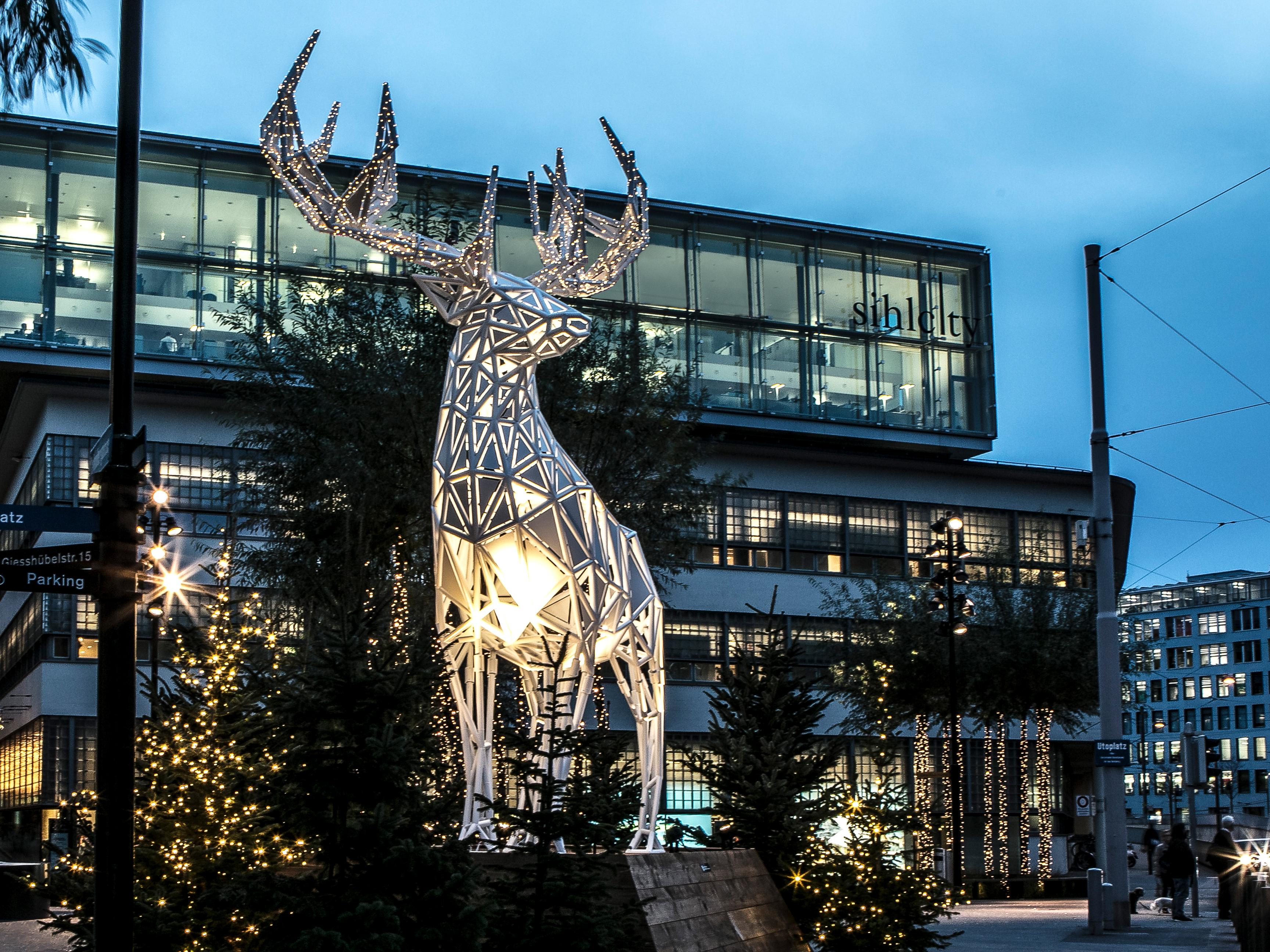 Sihlcity Weihnachten Winter Wonderland Hirsch