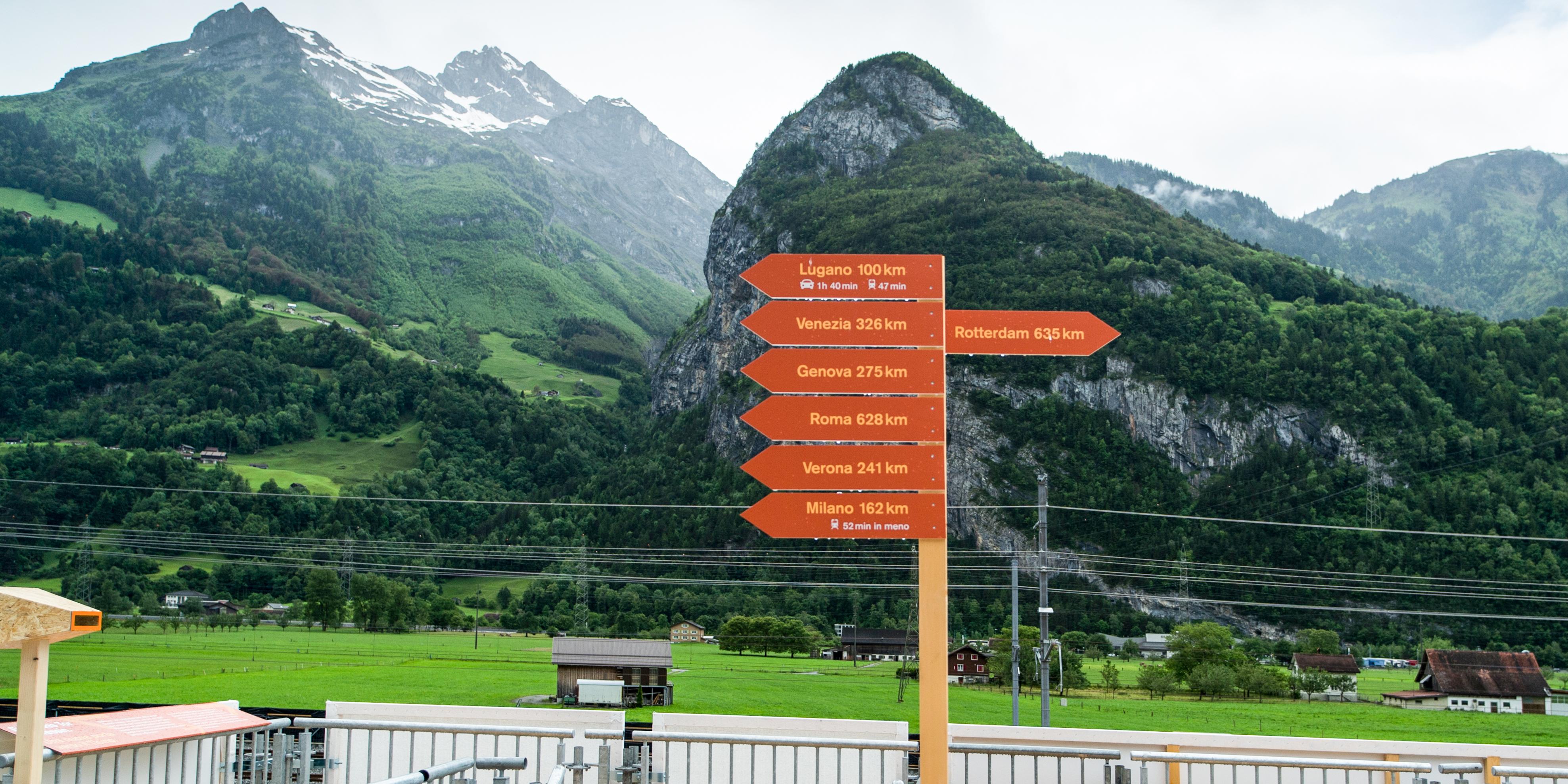 Credit Suisse Eröffnung Gottardo Wegweiser