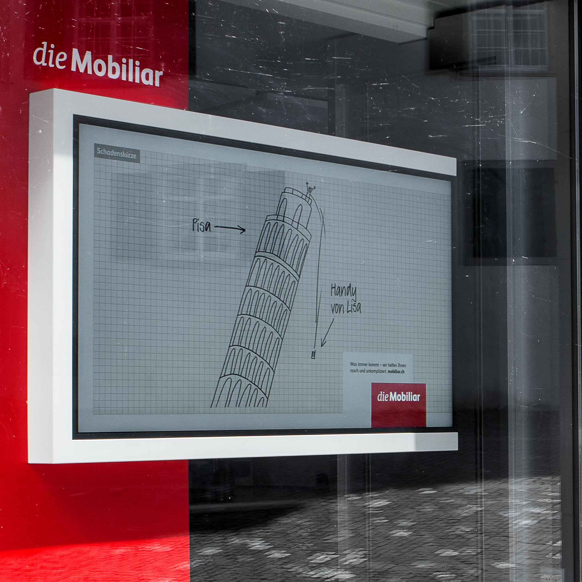 die Mobiliar Schaufensterauftritt TV-Stele Detailansicht