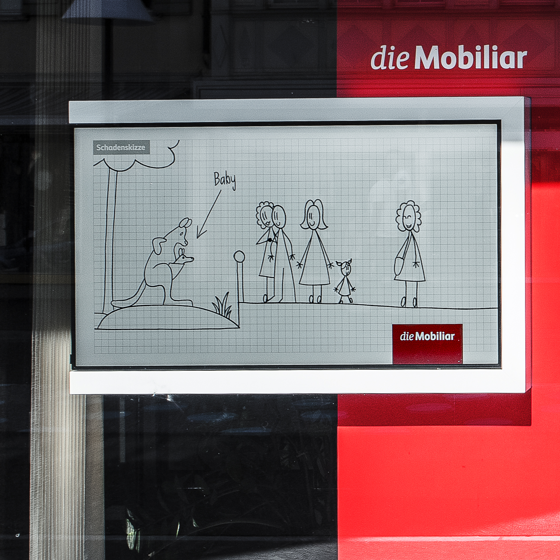 die Mobiliar Schaufensterauftritt TV-Stele