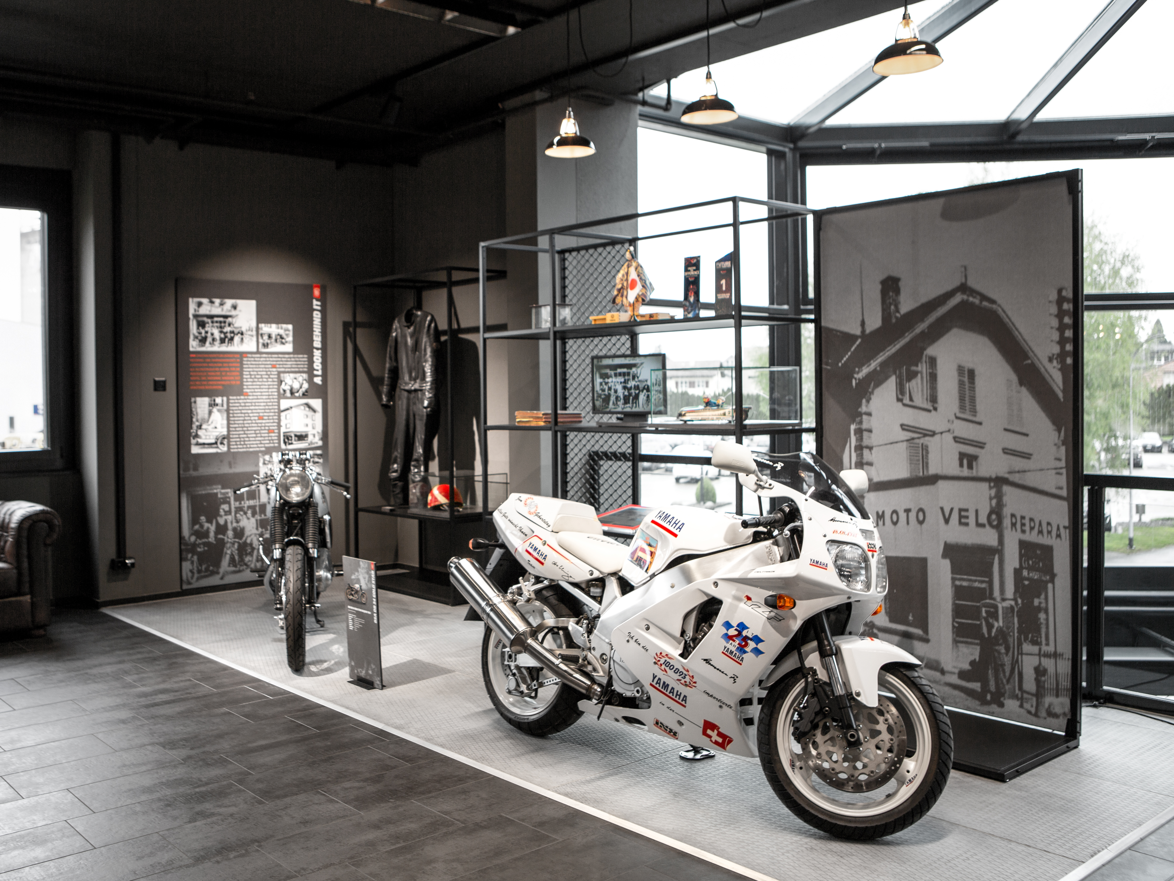Hostettler Hall of Fame History Wall Motorbike