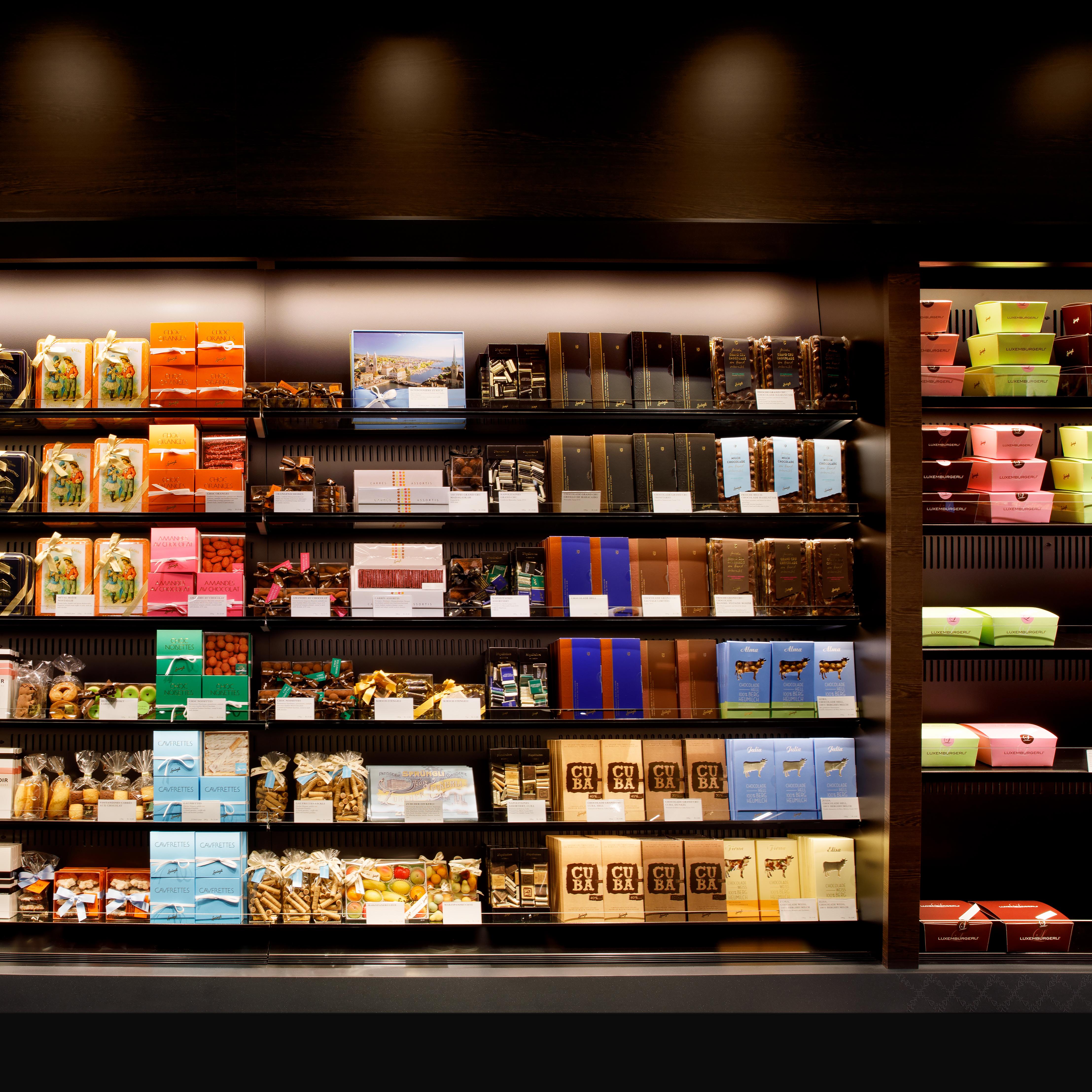Confiserie Sprüngli Zürich HB Retaildesign Schokolade